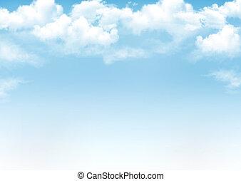 蓝的天空, 带, clouds., 矢量, 背景