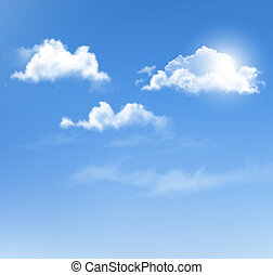 蓝的天空, 带, clouds., 矢量, 背景。