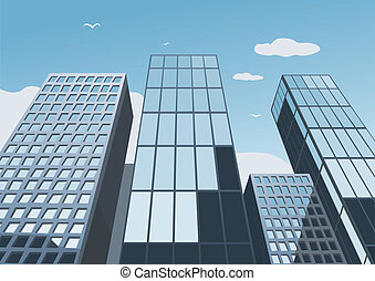 蓝的天空, 摩天楼, 背景