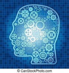蓝的轮子, 不同, outline, 品种, 头, 矩阵, 矢量, 背景, 桌子, 图标, 齿轮