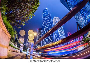 蓝色建筑物, 商行, 角度, kong, 大雨, 瓷器, 低, 夜晚, cityscape, 察看