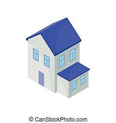 蓝色房屋, 描述, 背景。, 矢量, model., 白色