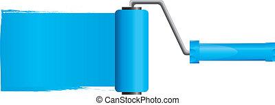 蓝色涂料, 滚筒, 刷子, 带, 蓝色涂料, 部分, 2, 矢量, 描述