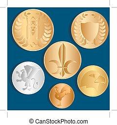 蓝色, 不同, 金属, 硬币。, 背景。, vector.
