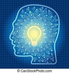 蓝色, 不同, outline, 品种, 光, 头, 矢量, 背景, 桌子, 灯泡, 图标, 矩阵