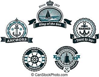 蓝色, 传令官, 标签, 徽章, 航海