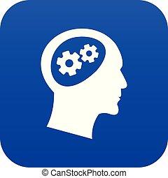 蓝色, 头, 图标, 齿轮, 数字