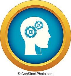 蓝色, 头, 隔离, 矢量, 齿轮, 人类, 图标