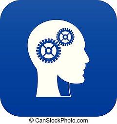 蓝色, 头, 齿轮, 人类, 数字, 图标