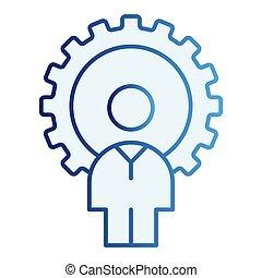 蓝色, 套间, 风格, 10., 齿轮, 图标, 坡度, eps, style., 开发者, app., 网, gogwheel, trendy, icon., 人, 设计, 设计