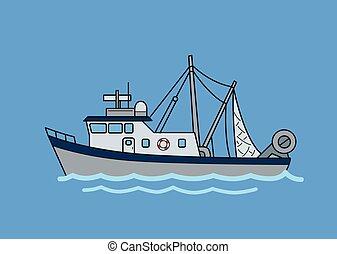 蓝色, 套间, illustration., 商业, 隔离, 背景。, 矢量, 钓鱼, trawler.