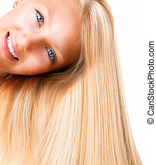蓝色, 女孩, 眼睛, blonde