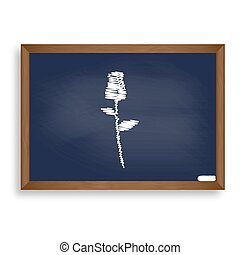 蓝色, 学校, illustration., 升高, wi, 签署, 粉笔板, 白色, 图标