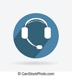 蓝色, 客户支持, 环绕, shadow., 图标