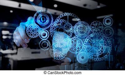 蓝色, 工作, 齿轮, 成功, 光, 商人