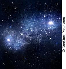 蓝色, 布满星星, 摘要, 背景