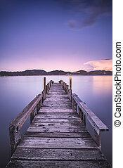 蓝色, 或者, italy, 反映, 木制, 天空, 防波堤, tuscany, versilia, 日落, water., 码头, 湖