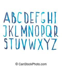 蓝色, 拖拉, abc, 信件, 心不在焉地乱写乱画, 描述, 手, watercolor, 矢量, 数字, 字母表, ...