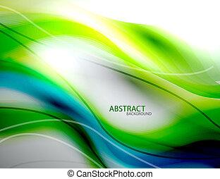 蓝色, 摘要, 弄污, 绿色的背景, 波浪