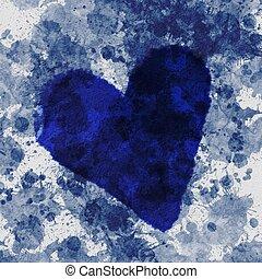 蓝色, 摘要, grunge, 背景, 心
