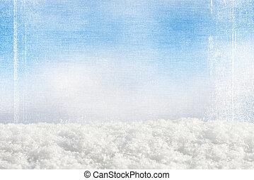 蓝色, 摘要, grunge, 雪, 背景