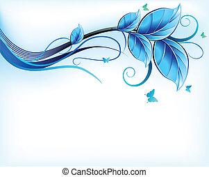蓝色, 植物群, 背景。, 矢量