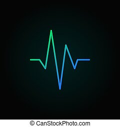 蓝色, 概念, 元素, 矢量, 设计, 心跳, 线, 或者, 图标