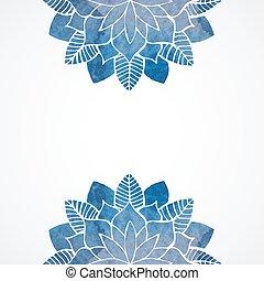 蓝色, 模式, watercolor, 背景, 植物群, 白色