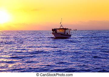 蓝色, 海, 日出, 带, 太阳, 在中, 地平线
