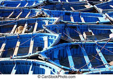蓝色, 渔船, 在, essaouira, 摩洛哥