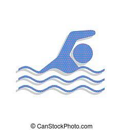 蓝色, 游泳, 仙客来属植物, 标志。, 氖, 水, vector., 运动, 图标