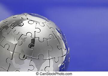 蓝色, 特写镜头, 难题, 金属, 隔离, 背景, 背景, 白色, 全球