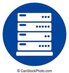 蓝色, 环绕, 服务器, 图标