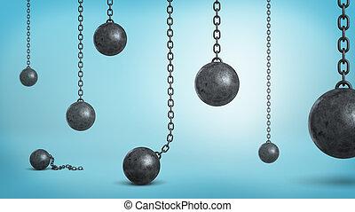 蓝色, 球, 失事, 提供, 许多, 下来, 背景。, 黑色, 铁, 悬挂, 连锁, 落下, 3d