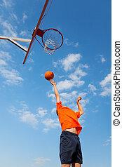 蓝色, 男孩, 篮球, 天空, 对, 玩
