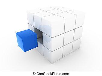 蓝色, 白的立方, 商业, 3d