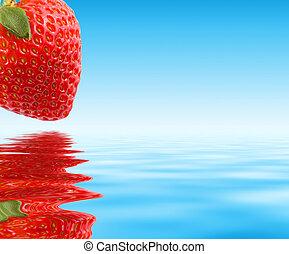 蓝色, 结束, 宏, 草莓, water., close-up., 红