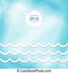 蓝色, 设计, 背景, 波浪