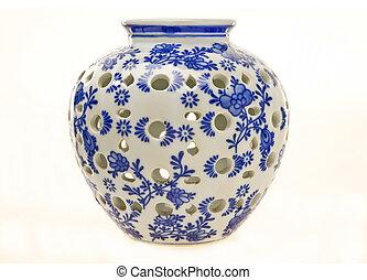 蓝色, 陶器, 白色, 罐子