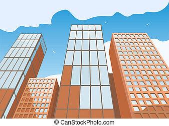 蓝色, 高, 天空, 摩天楼, 背景
