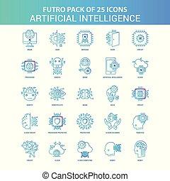 蓝色, 25, 智力, 人工, 绿色, futuro, 图标, 包