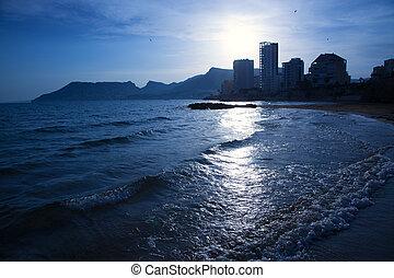 蓝色, cantal, calpe, roig, alicante, 日落海滩