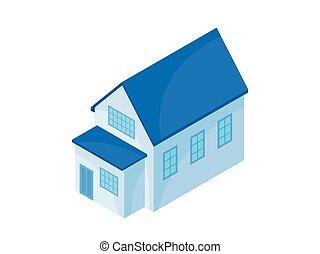 蓝色, extension., 现代, 描述, 背景。, 矢量, 房子, 模型, 白色