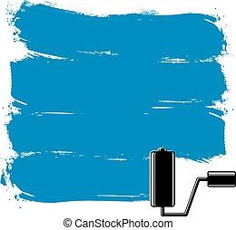 蓝色, grunge, brushstrokes, 丙烯酸, 样品, 建立, 带, paintbrush., 墙壁, 绘画, 矢量, 概念性, illustration.