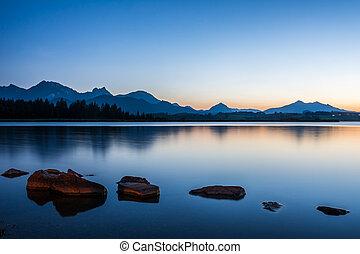 蓝色, hopfen, 湖, 小时