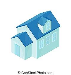 蓝色, house., 描述, 背景。, 矢量, single-story, 模型, 白色