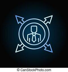 蓝色, outline, 箭, 矢量, 环绕, 人, 图标