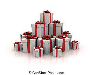 蓝色, render, 礼物, 高, 盒子, 质量, 堆, 3d