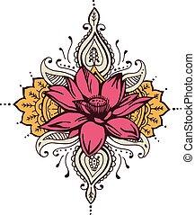 蓮花, 佩斯利螺旋花紋呢, 指甲花, 設計