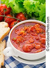 蔬菜汤, 在中, a, 碗